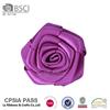 Handmade decorative 3.8 cm purple satin ribbon rose flower