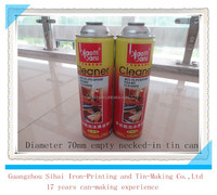 Empty aerosol tin can with four colors printing for foamy cleaner