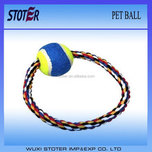 tennis dog pet ball with cotton rope
