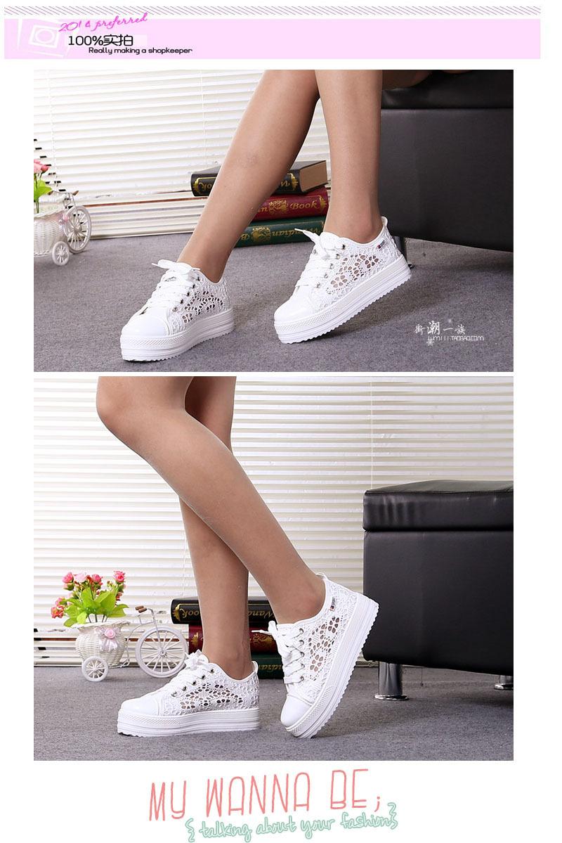 Женские кружевные кроссовки на платформе. фото