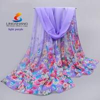 Lingshang new small flower print fashion scarf women elegant party chiffon shawl beautifu gift scarves and shawls
