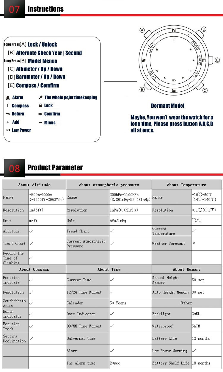 Ezon часы H506A11 профессия открытый восхождение мужская спортивные часы с компасом, высоты, барометр