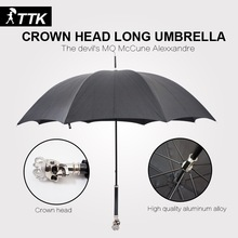 English lunfan fashion personality skull crown umbrella straight rod umbrella black plastic UV golf umbrella