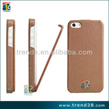 Hot selling Thin cover pu material anti-skid litchi grain leather case for Iphone 5