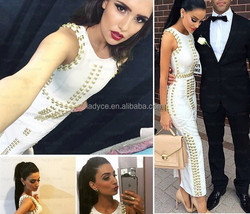 Wholesale new arrival style fashion Kim kardashian sexy sleeveless knitted celebrity party prom o-neck ankle-length dresses