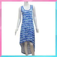Ladies Latest Fashion Beautiful Sleeveless Stripe Printed Dress