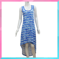 Lady Latest Fashion Beautiful Sleeveless Stripe Printed Dress
