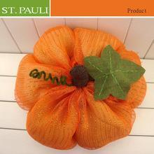 Fresh orange color new item mesh fabric thanksgiving day pumpkin craft