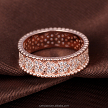 Bling Fashion Design Women Rose Gold Plated Engagement Rings with Crystal Heart Ring Jewelry