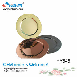 stainless steel colourful gold charger plate wholesale