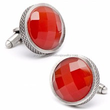 stainless steel Red Faceted Cats Eye Cufflinks checker board
