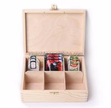 Custom logo and color natural color pine 6 compartments tea bag box wooden