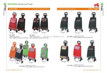 Supermarket Hand Push Plastic Shopping Cart Foldable Shopping Trolley Bag