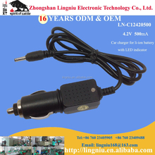 4.2V 500mA abs super fast car charger for 3.7V li-ion battery with LED indidator, car accessories