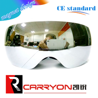 Guangzhou factory newest designation magnet snow ski goggle for kids,imported tpu silver mirror magnet lens kids snow ski goggle