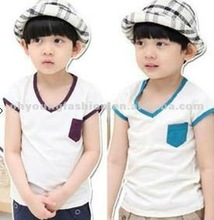 Fashion flat 100% cotton-jersey white solid tshirts with pocket for children kids