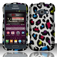 Colorful Leopard Snap-On Cover PC Phone Waterproof Case or Samsung Galaxy Ring M840 SPH-M840[ free screen protector ]