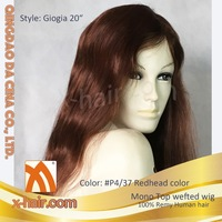 Hand tied Monofilament top with wefted back, machine made wefts 100% Remy Human hair wigs