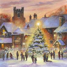 The Christmas tree oil painting on canvas by handmade