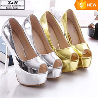 2016 New Colorful Cheap Cinderella High Heels 2016 Hot Gold Siliver Wedding Shoes Thin Heel Platform Prom Party Shoes