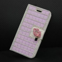 Light Purple for iPhone 6 Luxury Diamond White Leather Cover Case