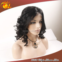 High quality 6a short curly wig for black women cosplay human hair grey lace front wig