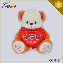 Customized Bear Soft Toy With Heart Mother's Day Gift Custom Stuffed Animal