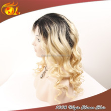 Tangle free straight Wig human hair short ombre full lace wig