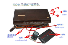 high Tech H264 720p remote control man hand bag hidden camera, new est mini wallet hidden camera with 4/8/16gb internal memory