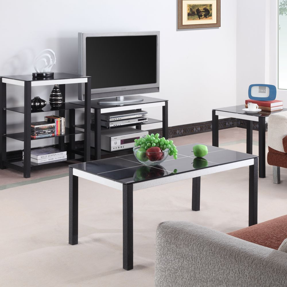 Luxury black glass living room home furniture sets for for Glass living room furniture