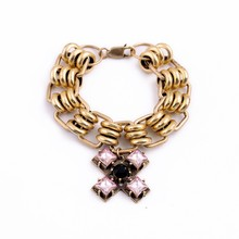 Hot New Products Fashion Brand Designs Inspired Gold Chain Link Crystals Cross Pendant Bracelets B1220