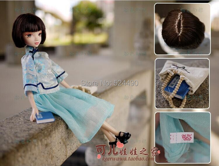 Legal Copy Genuine Original 10 jointed moveable Ancient Costume Kurhn Doll / Blue Cheongsam Dress Bag Set for Barbie Doll Gift
