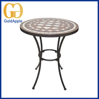 New Design durable with imitate stone coffee bar round metal dining table for sale