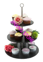 Round 3 Tier Slate Cakes Stand/3 Tier Natural Slate Cake Stand Wedding Party Pastry Sweet CupCake Muffin Stand