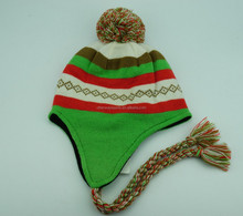 knit earflap beanie hat with top ball and cord