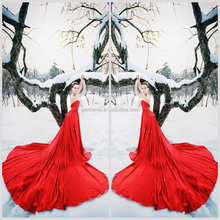 Designers New Style A-line Beaded Top Tulle Ruffled Skirt Front Short Long Back Red Wedding Dress Pictures (ZX944)