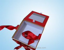 Ribbon attached luxury gift boxes with hinged lid for cupcake packaging wholesale
