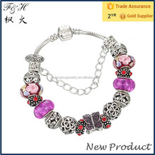 Assorted color murano glass beads & hollowed-out metal bead snake chain charm bracelet Jewelry