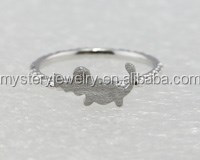 """2015 Hot Sale Mystery Cute Animals Hand Sand Finish with """"ELCATS"""" Cubic Zircon 925 sterling silver ring jewelry"""
