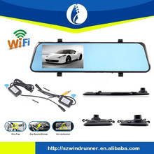 shenzhen windrunner factory price new research 4.3 inch wireless android with dvr recorder dual camera Rear View Mirror Car DVR