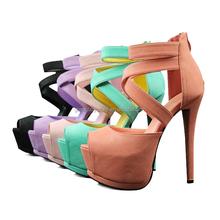 European Sexy Lady's Open Toe Platform Pumps 14cm Stiletto Women Thin Heel Party Shoes High Heels 6 Colors