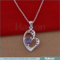 Popular strict QC procedure Heart Design purple chain pendants for best friends