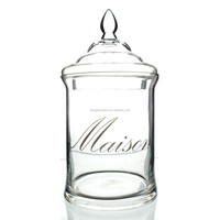 Handmade high quality Glass Maison Jar with Lid - Clear 12inch height