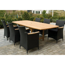 2015 Fancy design Rectangle table rattan chairs Patio Dining Set