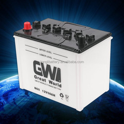 brand GW rechargeable 12v 60ah dry battery automotive battery