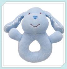 Fuzzy Plush Soft Baby Rattle Blue Puppy