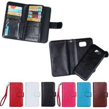 9 card slots wallet leather phone case for Samsung Galaxy S6 with rope