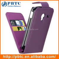 Set Screen Protector Stylus And Case For Samsung Galaxy Ace Plus S7500 , Purple Leather Wallet Smartphone Cover