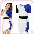 Azul Royal e branco vestido de noiva de manga curta vestidos de noite turca