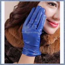 Custom Sexy Jewelry Blue Sheepskin Wool Lined Leather Gloves Leather Glove with different color For Lady